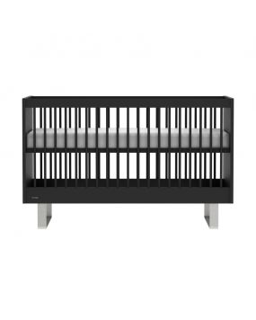 Intense Black / Stainless steel - Cot bed 70x140