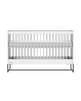 Intense White / Black steel - Cot bed 70x140
