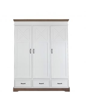 Savona White / Grey with cross - Wardrobe (3 doors)
