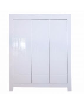 Somero White / Glossy - Wardrobe (3 doors)